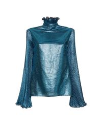 Luisa Beccaria - Blue Lurex Blouse With Pleated Sleeves - Lyst