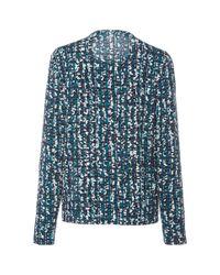 Paule Ka - Blue Long Sleeve Printed Tweed Jersey Top - Lyst