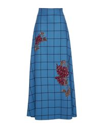 Luisa Beccaria - Blue Wool Checked Skirt With Sequin Embroidery - Lyst