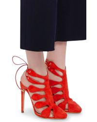 Chloe Gosselin - Red Calico Suede Cutout Sandals - Lyst