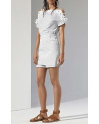 Thakoon - White Striped Paisley Dress With Lace Up Shoulders - Lyst