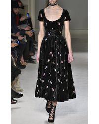 Luisa Beccaria - Black Embroidered Velvet Bustier Belt - Lyst