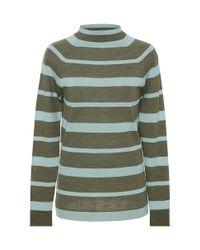 Lela Rose | Green Striped Funnel Neck Sweater | Lyst