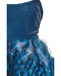 Luisa Beccaria - Blue Stretch Bustier Gown With Embroidered Tulle Skirt - Lyst