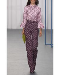 Holly Fulton - Purple Printed Bard Flared Trousers - Lyst