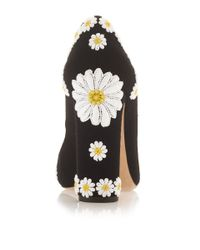 Dolce & Gabbana - Natural Wool And Goat Leather Pumps With Daisy Applique - Lyst