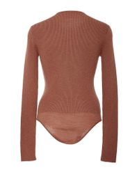 Protagonist - Brown Henley Knit Bodysuit - Lyst