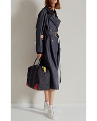 Tibi - Blue Trench With Removable Rib Collar - Lyst
