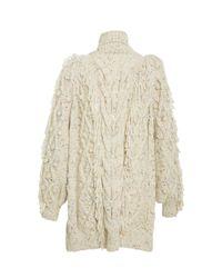 Ulla Johnson Natural Arrossa Fringed Cable-knit Cardigan