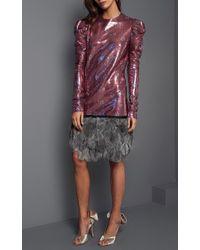 Johanna Ortiz - Pink Aurora Feather Hem Sequin Dress - Lyst