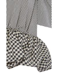 Isa Arfen - Gray Cotton Silk Micro Check Top With Peplum - Lyst