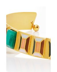 Paula Mendoza - Metallic Emerald And Gold Hexagon Choker - Lyst