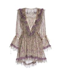 Etro | Multicolor Taupe Floral Paisley V-neck Dress | Lyst