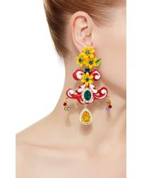 Dolce & Gabbana - Multicolor Yellow Floral Earrings - Lyst
