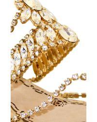 Marchesa Metallic Crystal & Gold Leather Diana Sandal