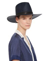 Janessa Leone Blue Aster Tall Panama Hat