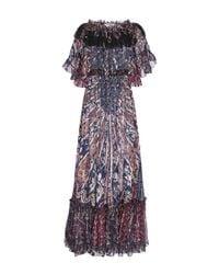 Etro | Blue Painted Floral Print Dress | Lyst