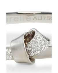 Carelle | Metallic 18k White Gold Knot Bangle | Lyst