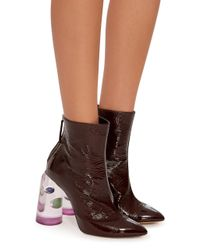 Ellery - Brown Patent Leather And Marbled Perspex Ankle Boots - Lyst