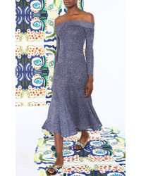 Tata Naka - Blue Off Shoulder Godet Dress - Lyst