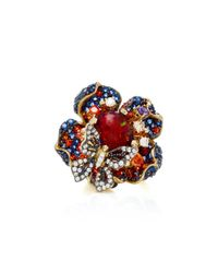 Anabela Chan | Metallic Violet Opal Bloom 18k Black And Gold Vermeil Diamond Ring | Lyst