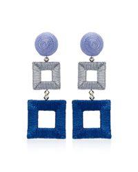 Oscar de la Renta - Blue Double Square Wrapped Earrings - Lyst