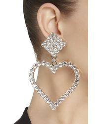 Alessandra Rich - White Crystal Heart Earrings - Lyst