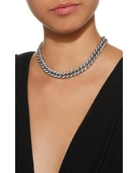 Sydney Evan | White Micro Pave Link Necklace | Lyst