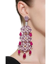 Anna E Alex - Pink Woven Stone Silver-plated Earrings - Lyst