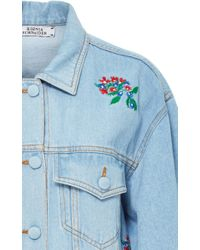 Ksenia Schnaider - Multicolor Light Wash Denim Jacket With Embroidered Flowers - Lyst