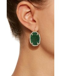 Sylva & Cie - Green Emerald Slice Thorn Earrings With Diamonds - Lyst