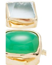 Melissa Joy Manning | Limited Edition 14k Yellow Gold Aqua, Gem Chrysocolla And Blue Chalcedony Freeform Three Stone Wrap Ring | Lyst