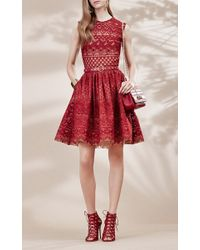 Elie Saab - Red Guipure Lace Sleeveless Dress - Lyst