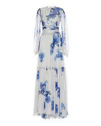 Costarellos - Blue Tiered Printed Chiffon Gown - Lyst