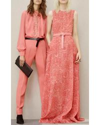 Elie Saab - Pink Crepe Cady And Lace Long Sleeve Shirt - Lyst
