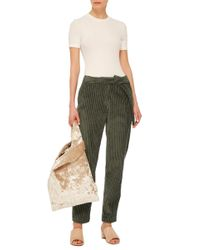 Cacharel - Green Cropped Corduroy Trousers - Lyst