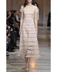 Carolina Herrera - Natural Embellished Tulle Dress - Lyst