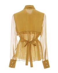 Marissa Webb - Orange Marigold Iman Crinkle Silk Blouse - Lyst