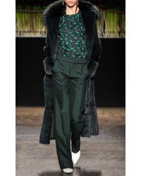 J. Mendel - Green Spruce Crepe Wide Leg Trousers - Lyst