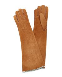 Maison Fabre | Brown Suede And Shearling Long Gloves | Lyst