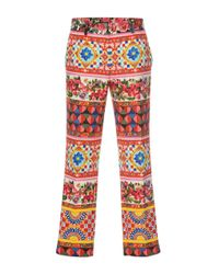 Dolce & Gabbana - Red Printed Crop Trousers - Lyst