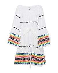 Lisa Marie Fernandez | White Long Sleeve Peasant Dress With Multicolored Ricrac | Lyst