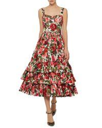 Dolce & Gabbana - Red Rose-print Ruffled Midi Dress - Lyst