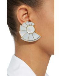 Monica Sordo - White Mother Of Pearl Nautilus Earfan Double Earrings - Lyst