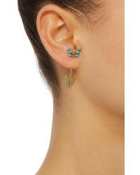 Yvonne Léon | Blue 18k Gold, Turquoise And Tsavorite Single Earring | Lyst