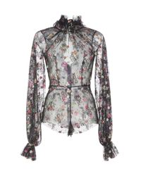 Luisa Beccaria - Black Floral Embroidered Tulle Bodysuit - Lyst