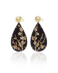Silvia Furmanovich - Marquetry Dark Brown Floral Pear Drop Earrings - Lyst