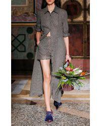 Blumarine - Green Eyelet Long Sleeve Midi Shirt Dress - Lyst