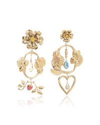 Rodarte | Metallic Gold Baroque Floral And Heart Dangle Earrings With Swarovski Crystal Details | Lyst