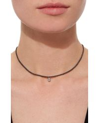 AS29 - Black Vertical Illusion Diamond Short Necklace - Lyst